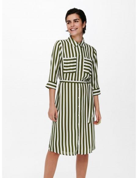 Vestido medio rayas verticales