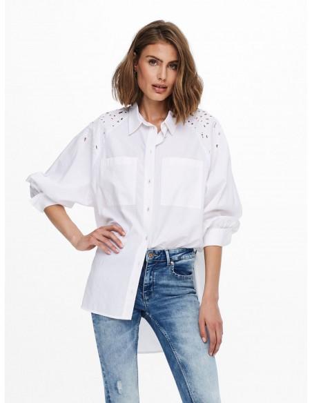 Camisa larga detalles mujer