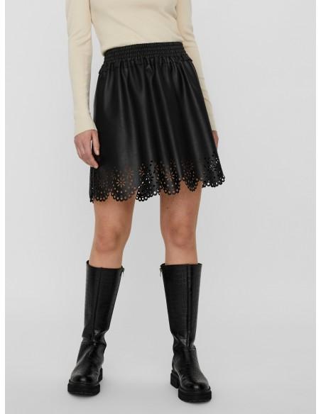 Minifalda talle alto efecto...